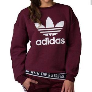 Adidas Maroon Trefoil Long Sleeve Sweatshirt